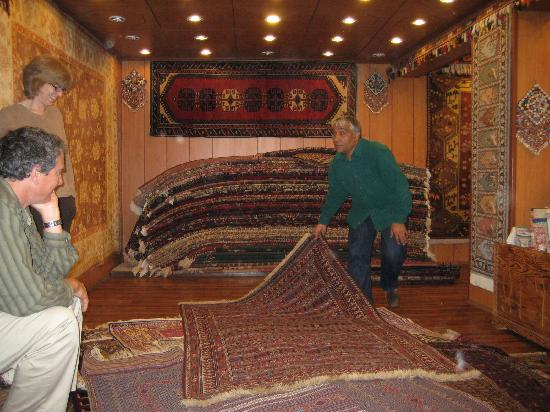 Hotel Bella: the carpet store downstairs