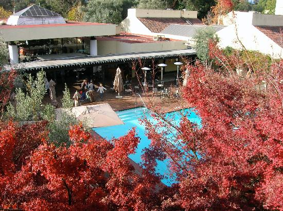 Sheraton Palo Alto Hotel: The pool, bar and hotel lobby seen from a bedroom