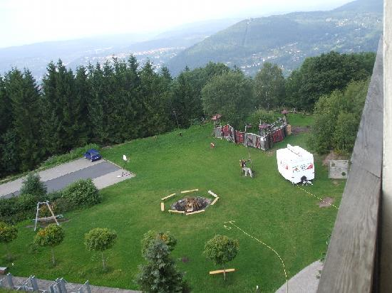 Hotel Ringberg: Playground and Campfire Area seen from one of the bedrooms