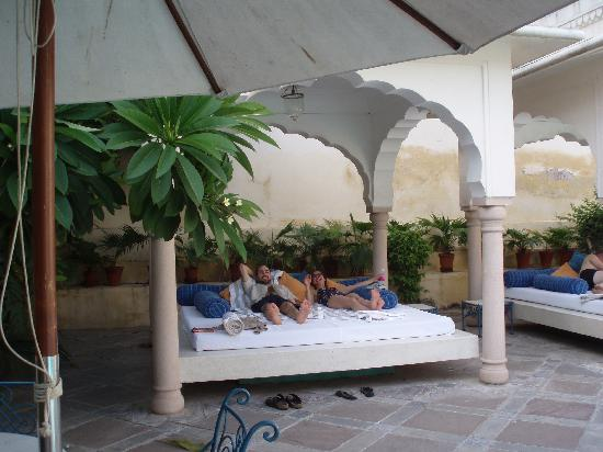 Samode Haveli: the poolside beds & the poolside beds - Picture of Samode Haveli Jaipur - TripAdvisor