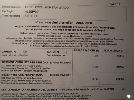 Listino prezzo camera picture of hotel excelsior san marco