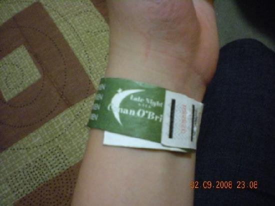Late Night with Conan O'Brien: I got in!! Bracelet!