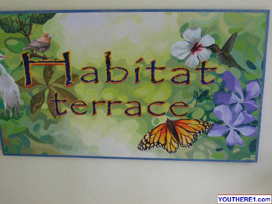 Habitat Terrace: Sign above main staircase