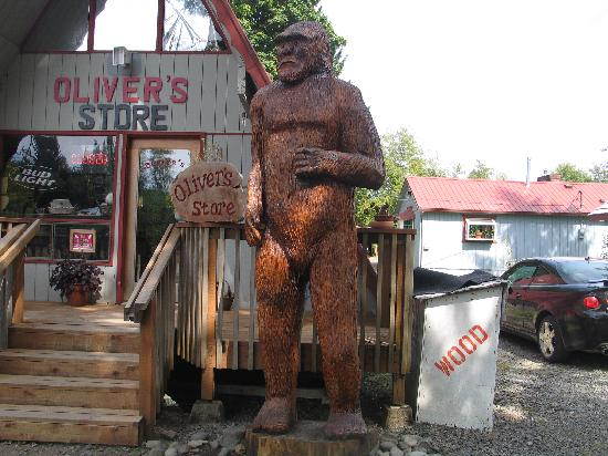 Oliver's of the Hoh Rain Forest Cabins : Big Foot in front of Office/Store