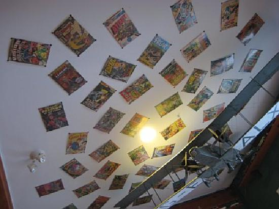 Tough City Sushi: Comic books decorate the ceilings along with interesting odds and ends.