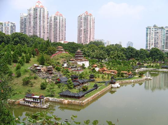 Splendid China Park: Miniature buildings with shenzhen highrise as backdrop