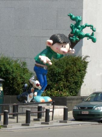 Belgium: Gaston Lagaffe Statue outside Cartoon Museum