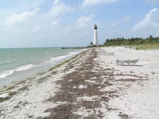 Key Biscayne, FL: The beach and Cape Florida Lighthouse