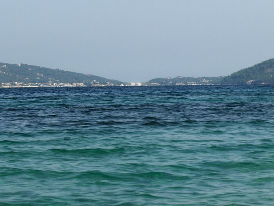 Looking at Skiathos and the runway; from bird island