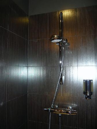 Le Fabe Hotel : Le revètement sur les murs de la douche est somptueux