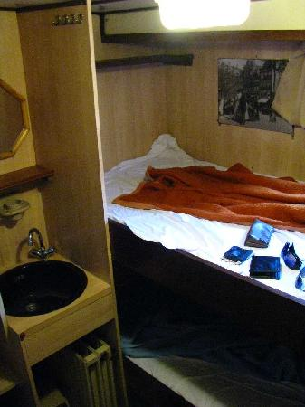 Botel Zebra: incredibly small cabin, about 2x3 m or 7x10 ft. Two people can barely move inside