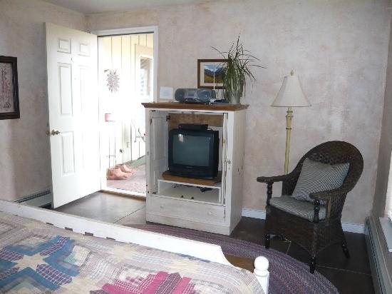 SkyRidge Inn Bed & Breakfast : Tumbleweed Room TV and front entrance