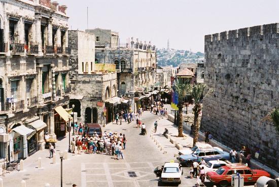 Jerusalén, Israel: David Street from top of Jaffa Gate