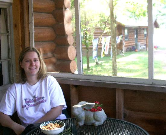 Whispering Pine Lodge: on the screened porch