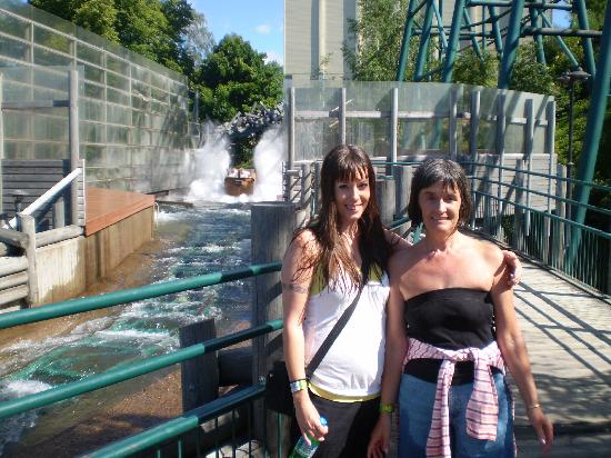 Linnanmaki Amusement Park: Me and my mum soaked after the log flume at Linnanmäki