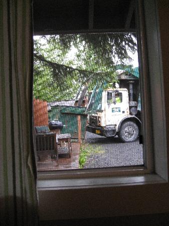 Alaska Coastal Lodging: view of the garbage (and truck!)