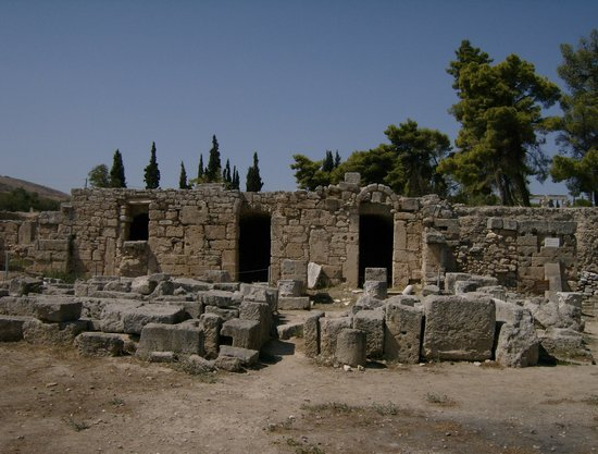 Corinto, Grecia: Remnants of the North Shops at the Agora at Corinth