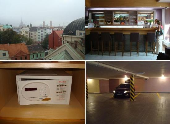 Hotel Trend: Top left clockwise: 1) Terrace view. 2)  Lobby bar. 3) In room safe. 4) Hotel parking garage.