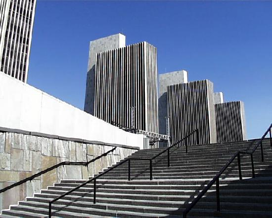 Governor Nelson A. Rockefeller Empire State Plaza: The stairway leading to the plaza from the street.
