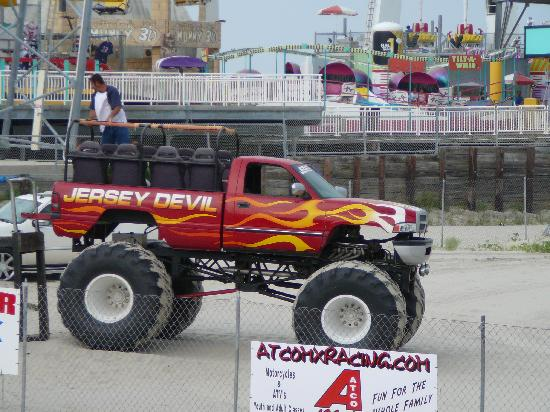 Morey's Piers and Beachfront Water Parks: Monster Truck ride (separate attraction) with Adventure Pier rides in the background