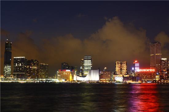 Hong Kong, Chine : Kowloon Harbour at Night (Taken at HKCEC)