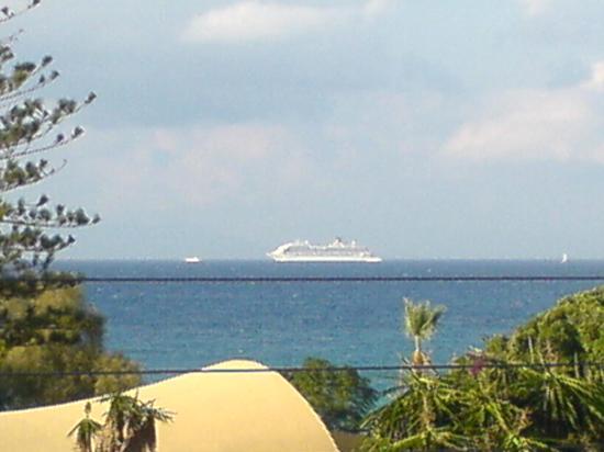 Sunny Days Hotel: view from our balcony towards Turkey