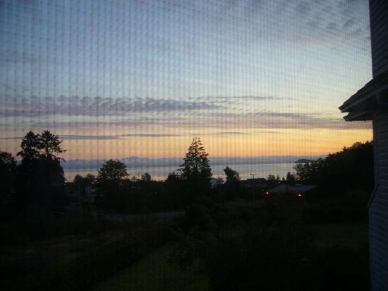 Oceanview Bed and Breakfast: Blick aus dem Fenster auf die Bucht bei Sonnenaufgang.