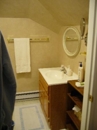 Oceanview Bed and Breakfast: Das eigene Bad im Zimmer, links befindet sich die Dusche.