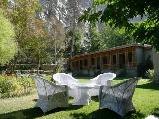 Serena Shigar Fort: Read a book in welcoming gardens below sheltering rock.