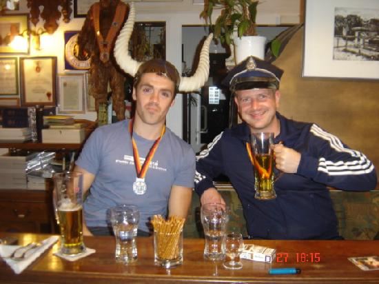 "Hotel Restaurant Normandie: Enjoying a ""viking's"" drink in the bar"