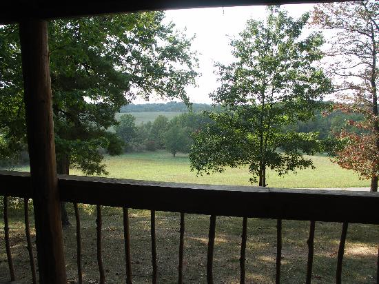 Old Man's Cave Chalets: View from front deck @ Settler cabin -- deer gather in the meadow @ dawn & dusk