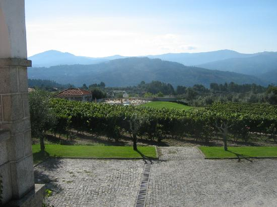 Pousada de Vila Pouca da Beira: The outdoor recreation area, the vineyards and olive groves and the mountains