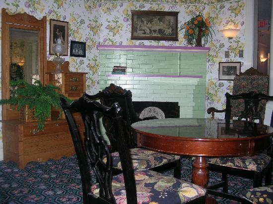 Inn on Mackinac: View of fireplace in parlor