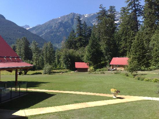 Tweedsmuir Park Lodge: View from the main lodge, overlooking the various cabins