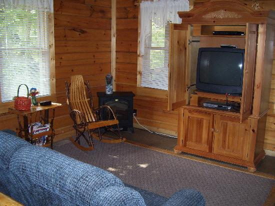 Buckeye Cabins: The living room and entertainment center.