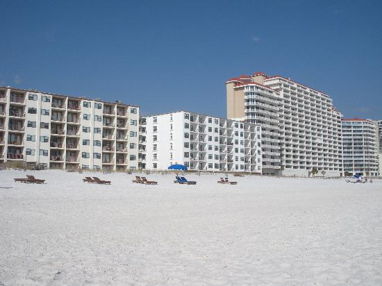 View from the beach--Boardwalk is on the left--The Lighthouse condo is on the right