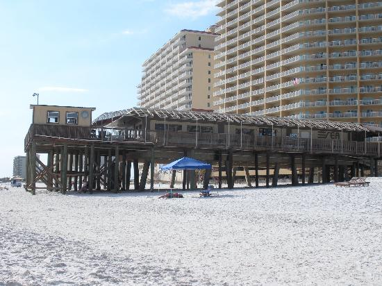Boardwalk: View of Sea-N-Suds from the beach--The seawinds condo is behind Sea-N-Suds
