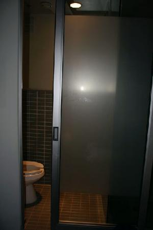 Drake Hotel Toronto: The bathroom, taken whilst sitting on the bed.  Privacy not included..
