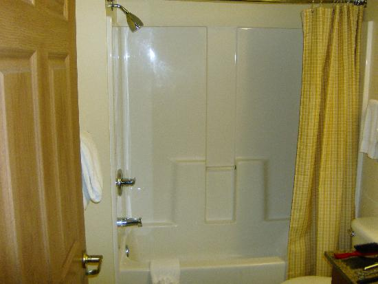 TownePlace Suites Denver Southeast: Fiberglass-resin one-piece tub-shower unit does its job.