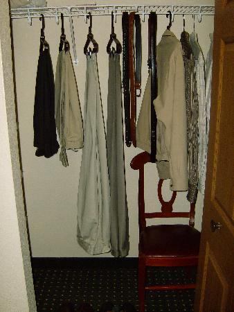 TownePlace Suites Denver Southeast: Huge closet has an ironing board, an iron, and an extra chair.