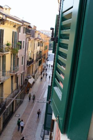 All'Opera Prima: The view up Via Mazzini to Piazza Bra from the window of room 10