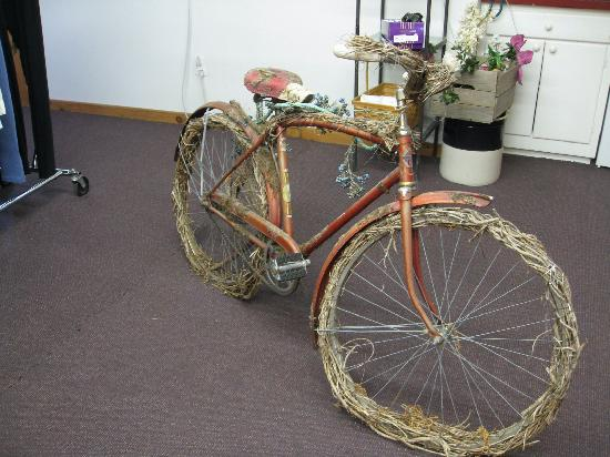 F.H. Clothing Co. : Decorated bike - upstairs in sale area