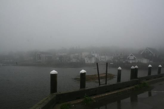 Boyce s Motel: Stonington from the wharf on a foggy morning