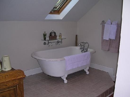 Auberge Gladstone: Great Bathroom - Huge Tile and Glass Shower Opposite Tub