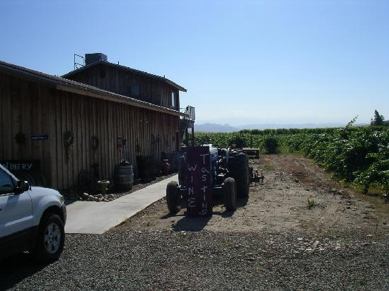 Sequoia View Bed & Breakfast: winery, with the stairs up to the winemaker's suite