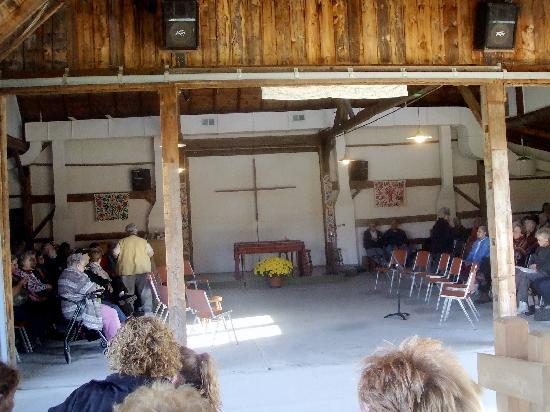 Eucharist in the barn at Weston Priory