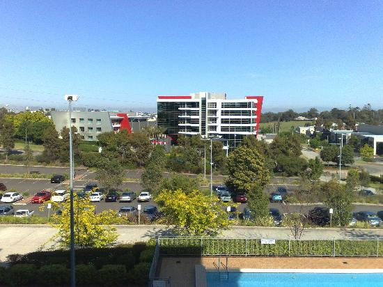 Crowne Plaza Norwest: View from room. Smudge on horizon is Blue Mountains, but you need to look closely.