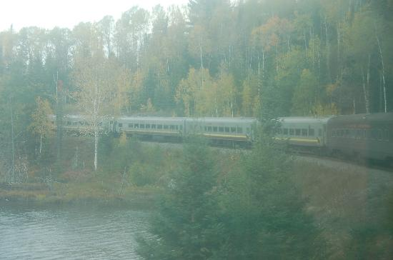 Sault Ste. Marie, Canada: A view from the train windows.  That's not the morning mist, but dirt and film on the windows.