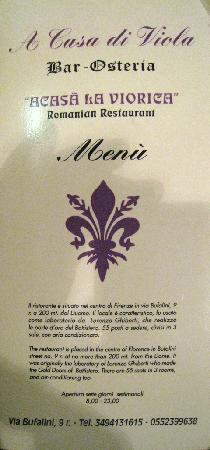 A Casa di Viola: menu