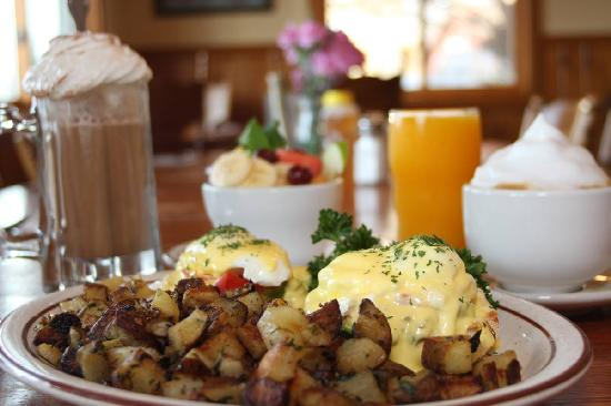 Eggs Benedict at Echo Lake Cafe with Organic Coffee and fresh squeezed OJ